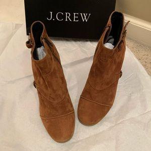 J Crew Cognac Suede Wedge Booties